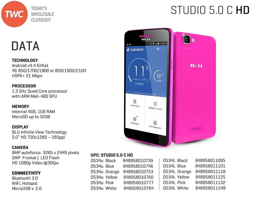 Wholesale Brand New Blu Studio 5 0 C Hd D534u White Gsm