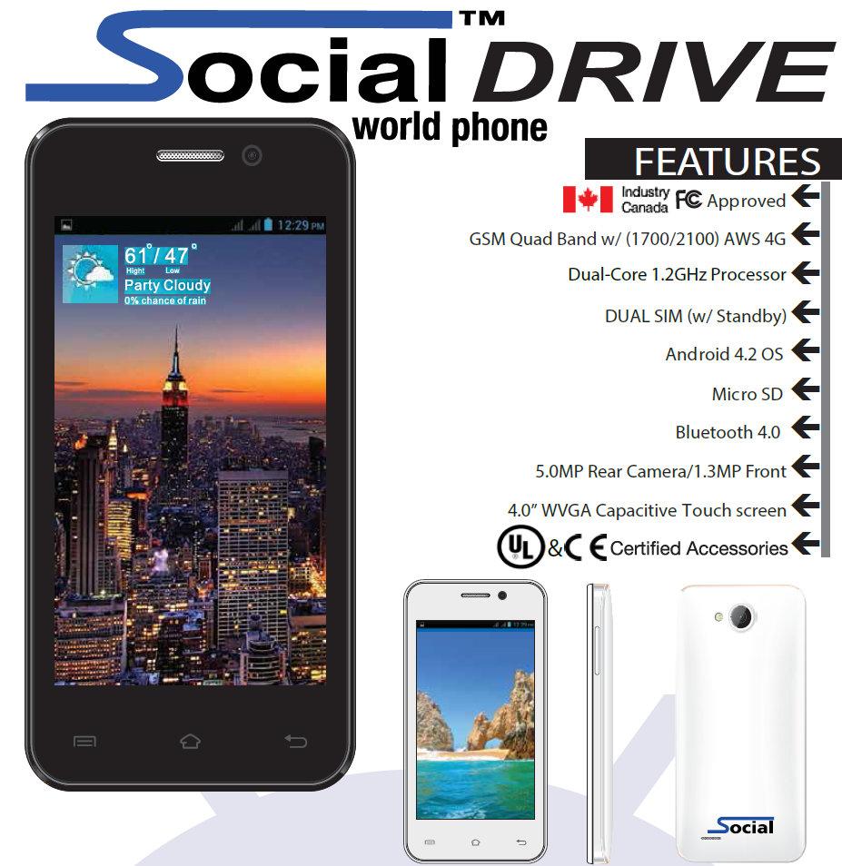 Wholesale Brand New Social Drive X500 White 4g 1700 2100