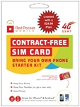 WHOLESALE RED POCKET GSM-TMOB SIM $24.99 PRE-LOADED DUAL-CUT
