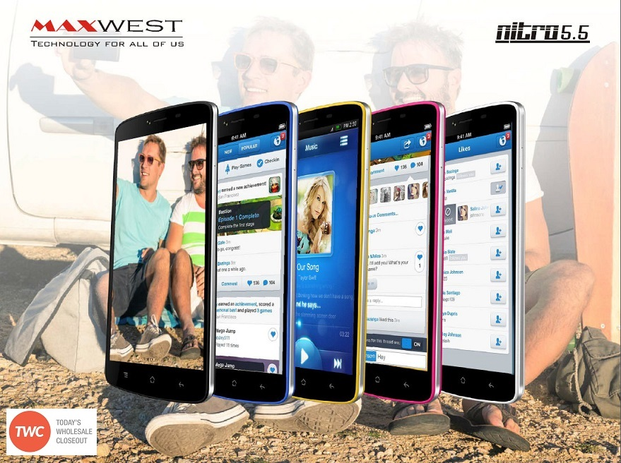 Wholesale Brand New Maxwest Nitro 5 5 Blue 4G Android GSM Unlocked