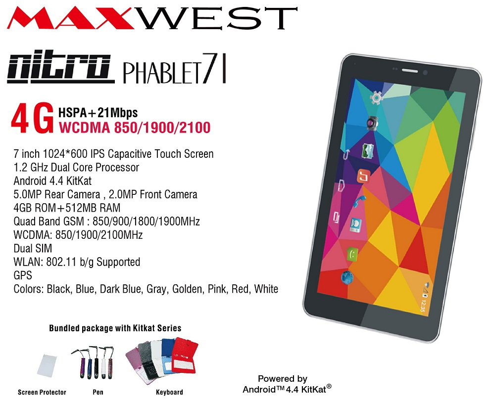 Wholesale Brand New Maxwest Nitro 71 Red 4g Tablet