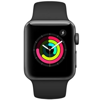 Apple Watch Series 3 38mm Space Gray Aluminum Case Black Sport Band MQKV2