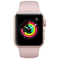 Apple Watch Series 3 GPS 38mm Gold Aluminum Case with Pink Sand Sport Band (MQKW2